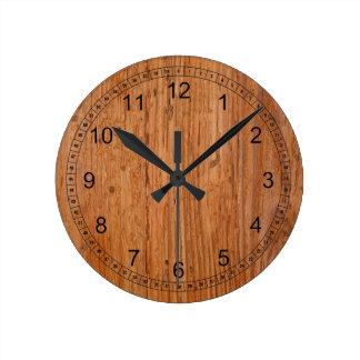 Reloj medio redondo natural de madera de roble
