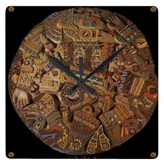 Reloj mexicano azteca de piedra tallado maya de la