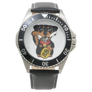 Reloj mínimo del perro del Pin del negro del