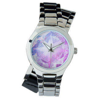 Reloj Mirada púrpura azul del diamante artificial de la