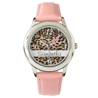 Reloj Modelo animal, marrón, rosa, monograma