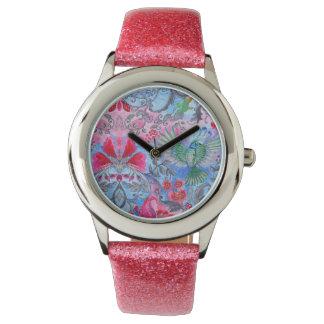 Reloj Modelo azul del lux del pájaro del jardín floral