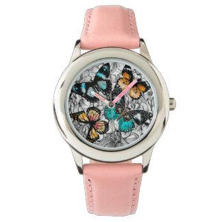 Reloj Modelo colorido del bosquejo de las mariposas
