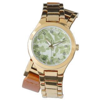 Reloj Modelo de la hoja de la verde salvia, vintage