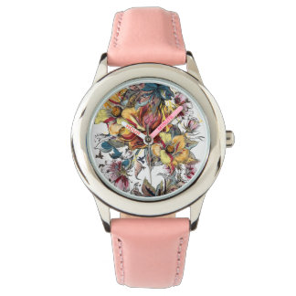 Reloj Modelo dibujado realista del ramo floral