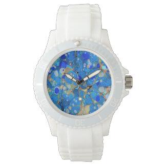 Reloj Modelo hermoso azul del mar elegante con el cordón