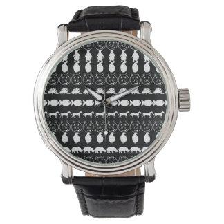 Reloj Modelo lindo blanco negro de los animales
