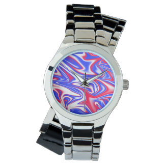 Reloj Modelo Marbleized azul blanco rojo,