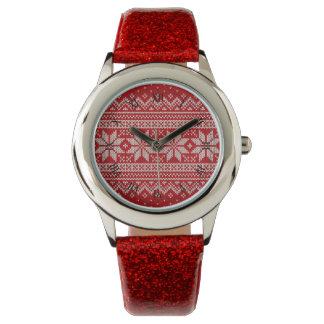 Reloj Modelo que hace punto del suéter del navidad -