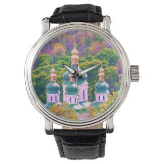 Reloj Monasterio de Vydubitsky. Kiev, Ucrania