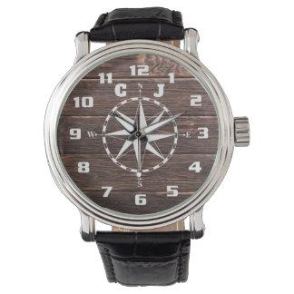 Reloj Monograma náutico rústico fresco y elegante del
