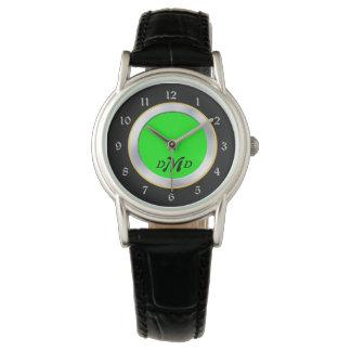 Reloj Monograma negro de plata verde claro