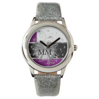 Reloj Monograma púrpura y de plata en blanco