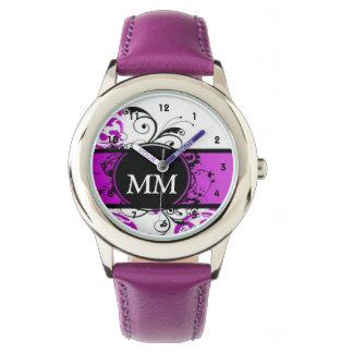 Reloj Monograma púrpura y negro en blanco