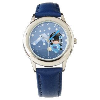 Reloj Muñeca de Kokeshi del invierno - chica de geisha