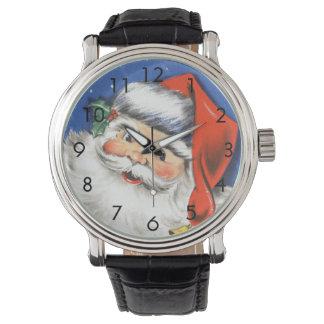 Reloj Navidad del vintage, Papá Noel alegre con música