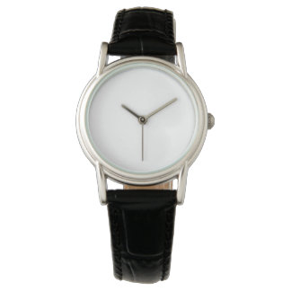 Reloj negro clásico de la correa de cuero de las