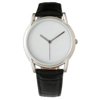 Reloj negro clásico de la correa de cuero de los