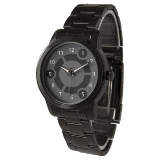 Reloj negro de gran tamaño de la pulsera de Ubuntu