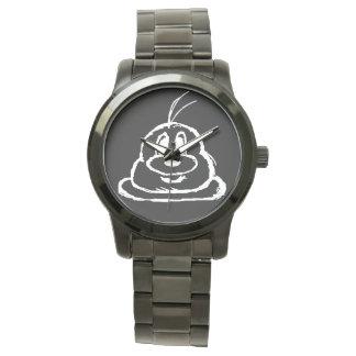 Reloj negro de las mujeres del acero inoxidable
