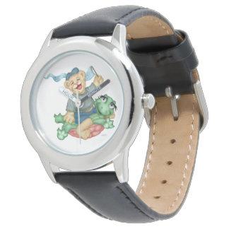 Reloj Negro del acero inoxidable del DIBUJO ANIMADO del