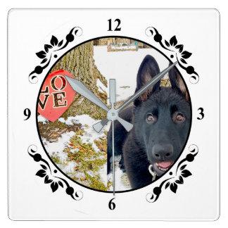 Reloj Cuadrado Reloj negro del perrito de GSD y de pared del