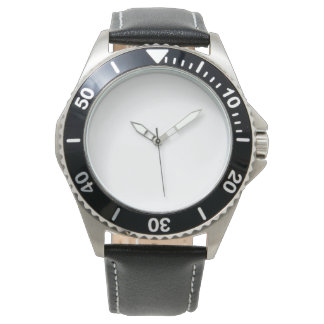 Reloj negro inoxidable de la correa de cuero de