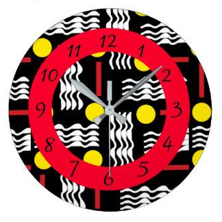 Reloj negro, rojo y blanco abstracto