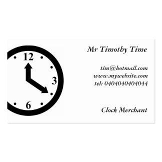 Reloj negro tarjetas de visita