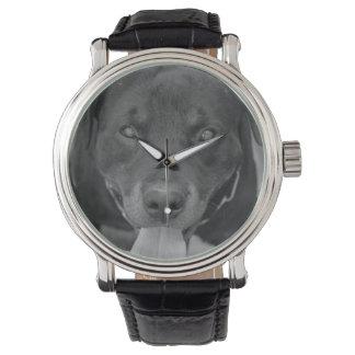 Reloj negro y blanco del perro de Rottweiler