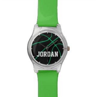 Reloj negro y verde de encargo de los niños del