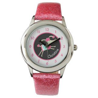 Reloj Niños personalizados caniche rosado lindo