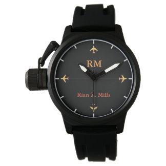 Reloj nombre personalizado + estilo de los aeroplanos de