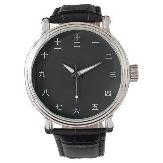 Reloj numérico chino del carácter (fuente blanca)