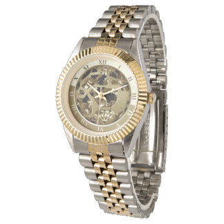 Reloj Números romanos de los engranajes de oro