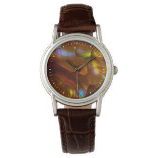 Reloj Ópalo de fuego anaranjado iridiscente