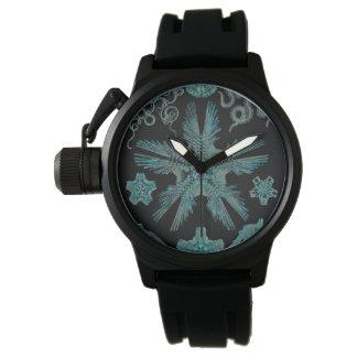 Reloj Ophiodea en turquesa y negro