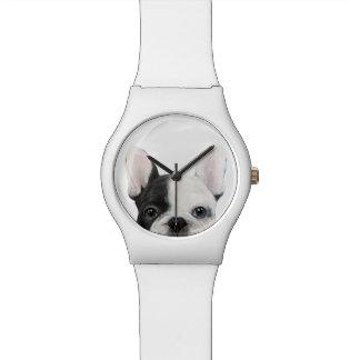 Reloj original blanco y negro del dogo francés