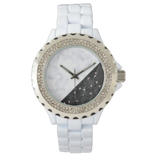 Reloj oro color de rosa de mármol blanco negro elegante