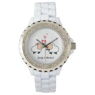Reloj Ovejas divertidas lindas alegres adorables en amor