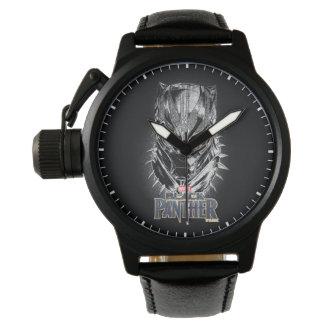 Reloj Pantera negra bosquejo principal negro y blanco