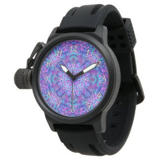 Reloj para hombre del vintage púrpura y azul del