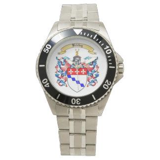 Reloj para hombre inoxidable del escudo de la