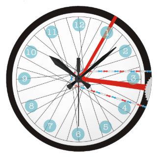 Reloj patriótico de la rueda de la bici en rojo,