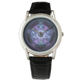 Reloj Pentagram azul del fuego de la brujería