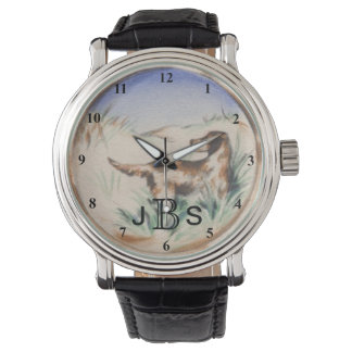 Reloj Perro de caza del vintage que caza el monograma