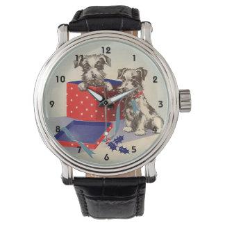 Reloj Perros de perrito lindos de los saludos del