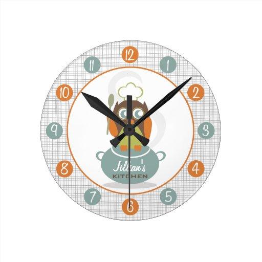 Reloj personalizado cocinero de la cocina del búho