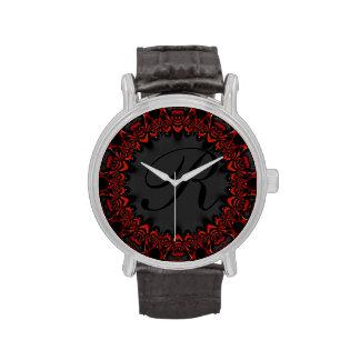 Reloj personalizado cordón negro rojo del monogram