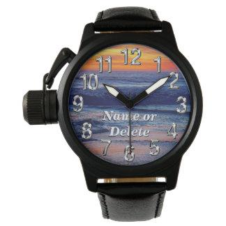 Reloj personalizado de la playa con SU TEXTO o